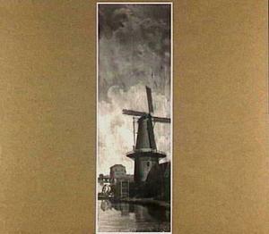De moutmolen 'De Juffer' bij de Rijnsburgerpoort in Leiden
