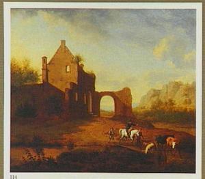 Landschap met ruiter, herders en hun vee nabij een ruïne