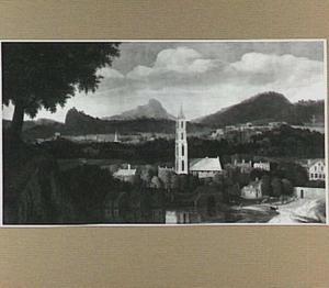Heuvellandschap met kerktoren, links op de voorgrond de Emmausgangers (dit gedeelte na 1951 afgezaagd)