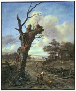 Landschap met een dode wilg langs een landweg met  figuren