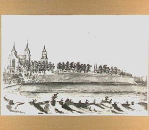 Stadswallen van Arnhem, met de Walburgkerk, de Eusebiuskerk en de torens van de Janskerk