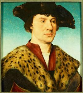 Portret van een man met grote bontkraag en donkere baret
