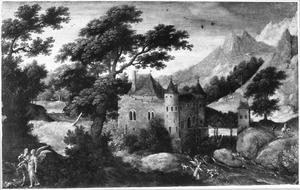 Landschap met Tobias en de engel op weg naar Ekbatana