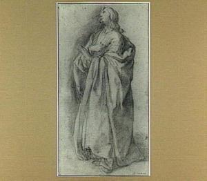Studie van een man in wijde mantel (Johannes onder het kruis?)