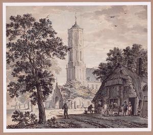 Gezicht in het dorp Elst met de hervormde kerk