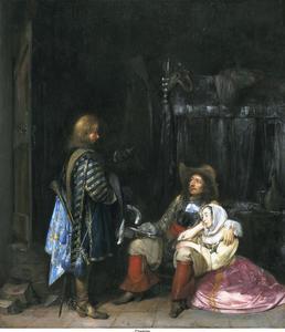 Interieur met een boodschapper, een soldaat en een jonge vrouw