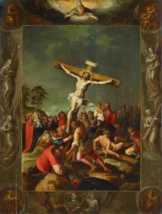 De kruisoprichting, omringd door een lijst waarin God de Vader, de vier evangelisten en de Arma Christi zijn afgebeeld