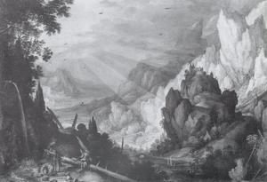Landschap met figuren bij een waterval