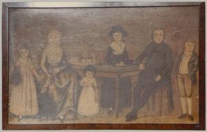 Portret van Cornelis Slok (1747-1820), Metje Bouman (1761-1840) en hun kinderen