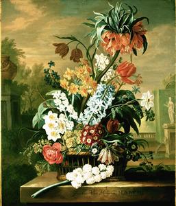 MARCH-Bloemstilleven met keizerskroon in top in een rieten mand, voor een parklandschap met vijver, fontijn en standbeeld van Flora