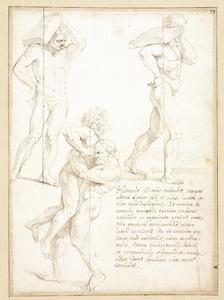 Hercules in gevecht met Antaeus; man een steen dragend op zijn schouder