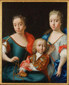 Familieportret van Margaretha Maria Brouwer, Adriaan Brouwer en Adriana Martina Brouwer