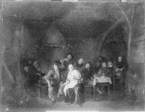 Vrolijk gezelschap met muzikanten in een herberg