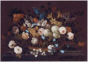 Stilleven met bloemenmand