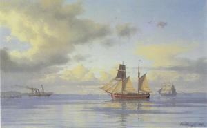 Zeilboten op de Öresund met Slot Kronborg op de achtergrond