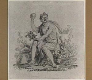 Allegorie: gelauwerde man met appel en andere attributen