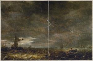 Zeilschepen op een plas, bij onweer