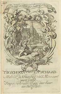 Allegorische voorstelling met amor zich verbazend over een grote pompoen, in een cartouche
