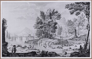 Arcadisch rivierlandschap met herders en vee