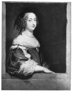 Portret van een vrouw, ten halven lijve, leunend op een vensterbank