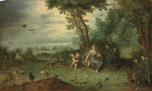 De vier elementen: het water: Amfitrite met watervogels en vissen