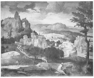 Bergachtig landschap met de H. Hieronymus