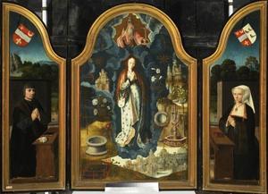 Portret van de stichter Mathias Laurin (binnenzijde linkerluik), Maria met de symbolen van de Onbevlekte Ontvangenis (middenpaneel), portret van de stichtster Françoise Ruffault (binnenzijde rechterluik)