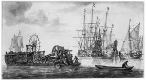 Moddermolen en andere schepen op kalm water