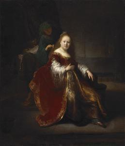 Een jonge vrouw aan haar toilet
