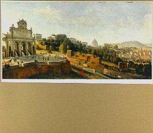 Gezicht op de Fontana dell'Acqua Paola in Rome