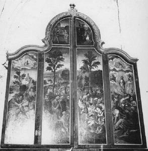 De doop van Christus in de Jordaan, Christus zegent de kinderen (buitenzijde linkerluik); Christus predikt, de transfiguratie (buitenzijde rechterluik)