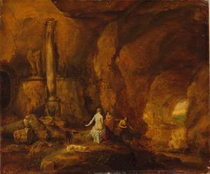 Nimfen in een grot met klassieke sculpturen