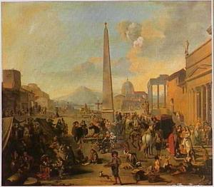 Romeinse marktscène; op de achtergrond de St. Pieterskerk