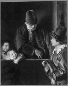 Een oude man en twee kinderen bij een draailierspeler