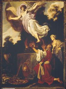 De engel verlaat Manoach en zijn vrouw in de vlam van het geofferde geitebokje (Richteren 13: 19-20)