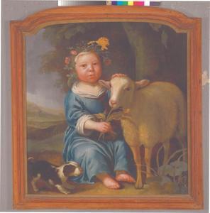 Portret van een klein kind met een hond en een schaap