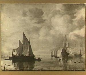 Zeilschepen in kalm weer voor de kust; rechts lost een fregat een saluutschot