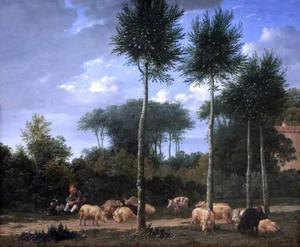 Landschap met varkenshoeder en zijn kudde