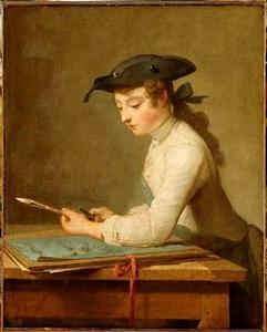 Jonge tekenaar, zijn potlood slijpend