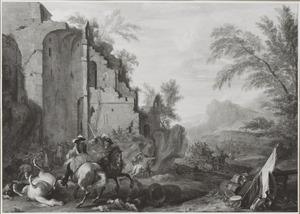 Landschap met een ruitergevecht nabij een ruïne
