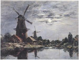 Molens en kanaal in de omgeving van Dordrecht bij maanlicht