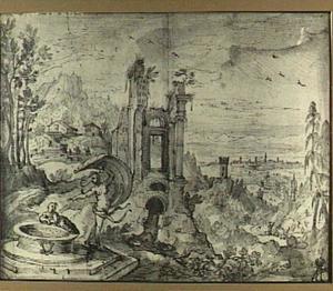 Landschap met figuren uit Aesopus: Fortuna en de jongen