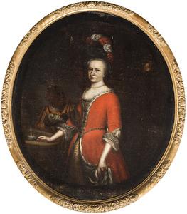 Portret van Cornelia Constantia van Middachten (1673-1752), met een bediende