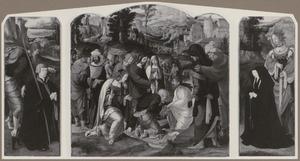 De H. Jacobus de Meerdere met stichter (binnenzijde links), de opwekking van Lazarus (midden), de H. Catharina met stichtster (binnenzijde rechts)