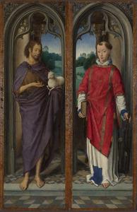 Johannes de Doper (binnenzijde linkerluik); De H. Laurentius (binnenzijde rechterluik); Vier kraanvogels en het wapen van de familie Pagagnotti (buitenzijde linkerluik); Kraanvogels (buitenzijde rechterluik)