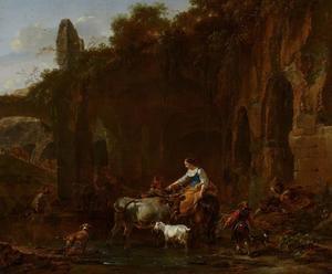Herders bij Romeinse ruïnes