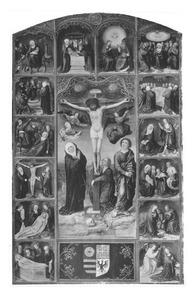 De kruisiging, omringd door afbeeldingen van de zeven vreugden en de zeven smarten van Maria