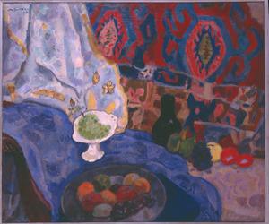 Stilleven met vruchten en blauwe lap