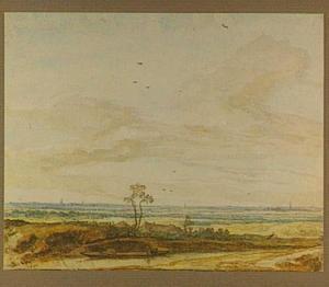 Weids landschap met pad langs een waterweg