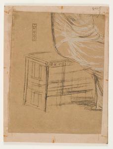 Onduidelijke voorstelling, mogelijk een figuur zittend op bank, kist of doos